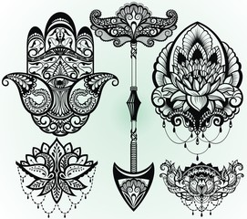 A set of lotus, hamsa,arrow. Decoration in ethnic oriental style.