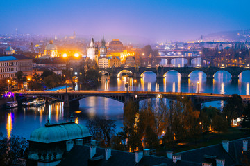 panoramic view of prague old town by night, czech republic