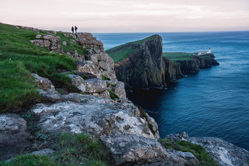 Neist Point Lighthouse, amazing tourist attraction, Scotland, UK