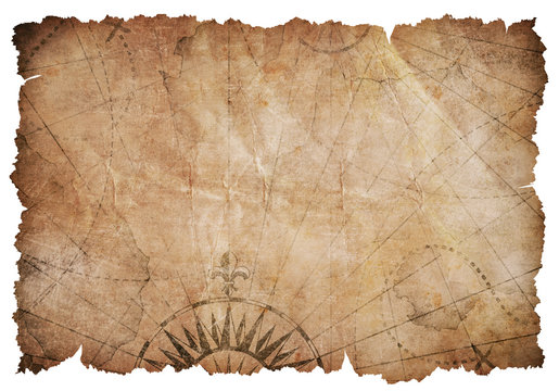 old ripped treasure map isolated