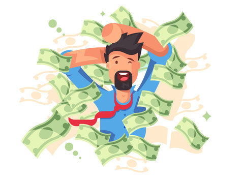 Rich smiling man bathing in money