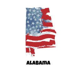 State of Alabama. United States Of America. Vector illustration. Watercolor texture of USA flag.