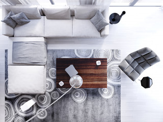 corner sofa top view with armchair and floor lamp in contemporary living.