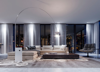 A huge white corner sofa with a modular system in the evening interior near large panoramic windows. Fototapete