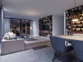 Spacious living room with huge sofa in a luxury apartment.