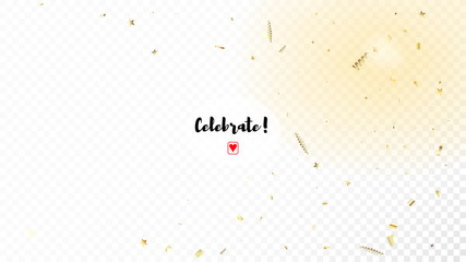 Modern Realistic Gold Tinsel Confetti, Flying Foil Blast. Horizontal Magic Stardust Background. Cool Luxury Christmas, New Year, Birthday Party Holiday Frame. Realistic Gold Tinsel Confetti