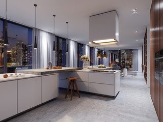 Luxury kitchen interior with a concrete isle, chairs, a row of countertops and a panoramic window.