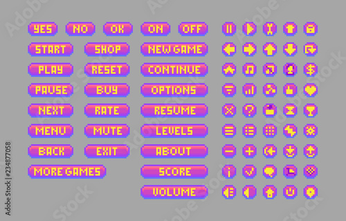 Pixel art bright buttons  Decorative GUI elements