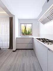 A cozy modern little kitchen room interior.