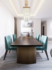 Bright dining room in contemporary style, with designer dining table and chairs.