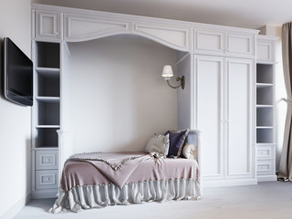Children's bedroom with a bed in a classic style, with large wardrobes for children's clothes.