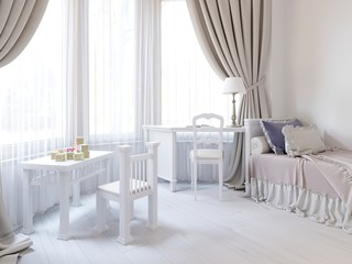 Children's room in a luxurious white color, with a bed, a wardrobe and a children's game table.