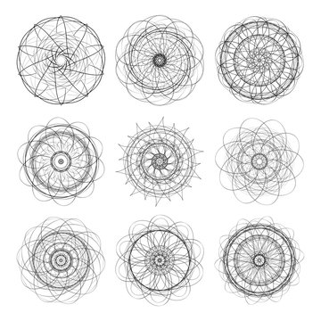 Spirograph, galiosh. Set. Tone images on a white background. It can be used for diplomas, certificates, cash banktnot.