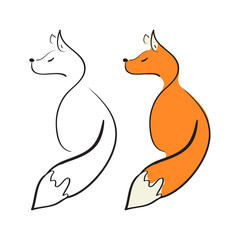 A Fox. Doodle. Sign, symbol, logo. Black-and-white picture and color. On a white background.