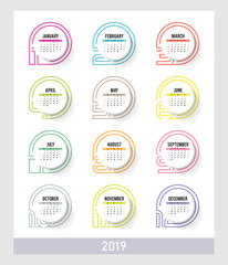 Year 2019 plain contemporary vector monthly calendar. Week starting from Sunday. Multicolor modern design.