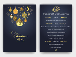Vector illustration sketch christmas party invitation with toys. Holiday background and design banner or poster. Template with hand-drawn Decorations graphic. Happy New Year Card