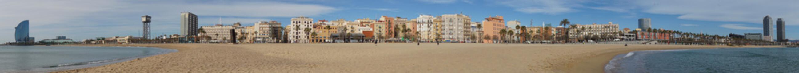 panoramic view of Barcelona cityscape skyline as seen from Barceloneta beach                                Fototapete