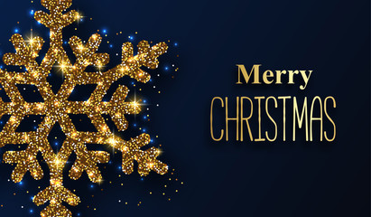 Blue Merry Christmas greeting card with golden shiny snowflake.