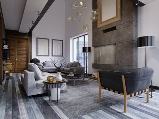 The design of the living room is very spacious with large windows, gray and white walls, gray parquet and furniture and a second level. Hardwood door on a gray wall. Large paintings on the wall.