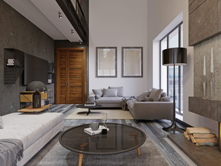 Beautiful and large hipster design living room interior with hardwood floors and vaulted ceiling in new luxury home. entryway, and second loft area.