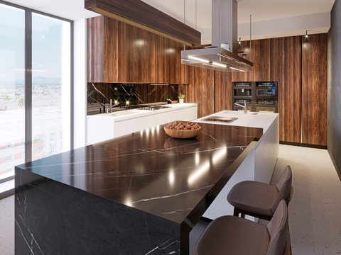 Luxurious bar counter of black marble with a wooden plate with nuts and two leather bar stools in the contemporary kitchen room.