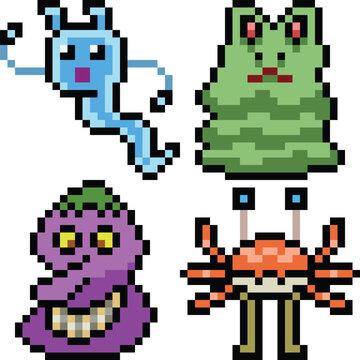 vector pixel art monster icon