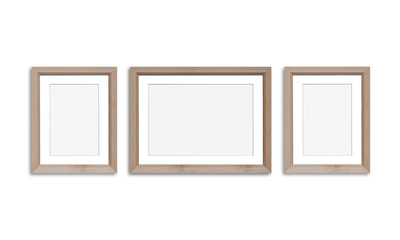 Three wooden photo frames, isolated on white background, 3d illustration