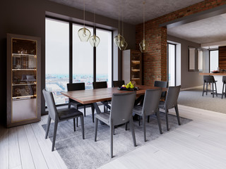 Cozy loft with dining table, chairs and storage racks.