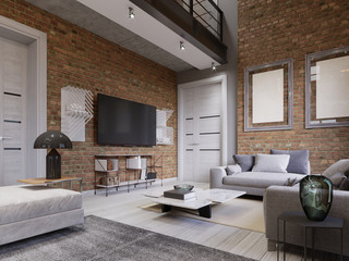 Led TV with TV stand on the background brick wall in loft apartment, living room.