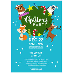 blue christmas party poster template animal zoo
