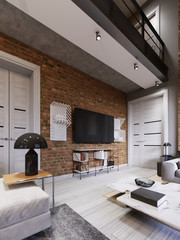 Modern living room interior, tv mounted on brick wall with black screen.