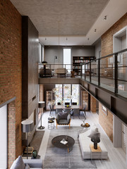 Loft modern interior designed as a open plan modern apartment. Open plan including kitchen, dining room, living room, glass railing, on the mezzanine.
