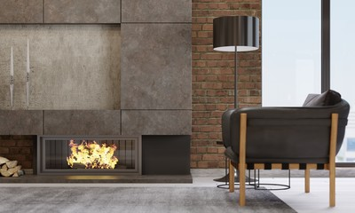 Fireplace in a modern living room with leather armchair and black lamp.