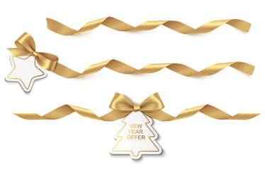 Set of New Year or Christmas Sale tag with gold long ribbon and bow isolated on white background. Vector illustration. Holiday decoration