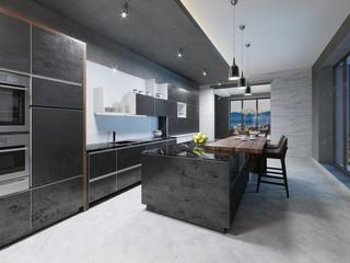 Modern dark kitchen interior with furniture and equipment.
