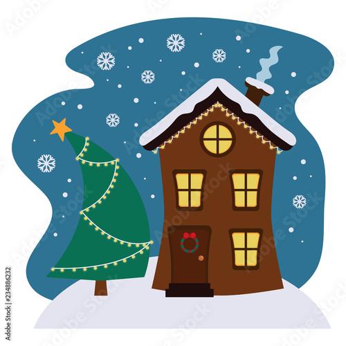 Christmas Gingerbread House Cartoon.Cartoon Winter House With Christmas Tree Cute Gingerbread