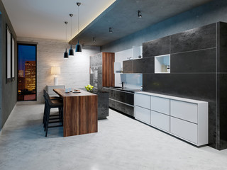 Contemporary kitchen counter with white and black design.