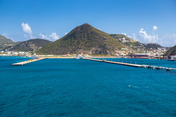 Pier for cruise ships in Philipsburg on the island of Sint Maarten in the Caribbean