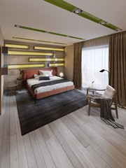Modern multi-colored bedroom with shelves on the wall with green lighting under the frosted glass, leather bed in red with bedside tables.