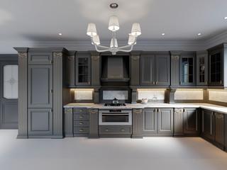Modern dark wooden kitchen in classical style.