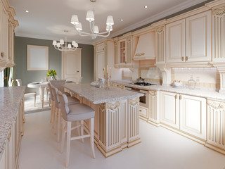 Classical kitchen with luxury elements.