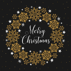 Merry Christmas greeting card. Vector illustration with golden glitter snowflakes wreath, isolated on black background.