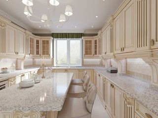 Classical design kitchen with beige and wood elements