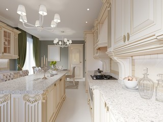 Kitchen interior and dining table in classical style with beige furniture
