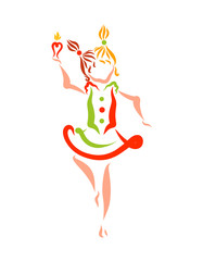 A girl with different tails dances with a candle in her hand