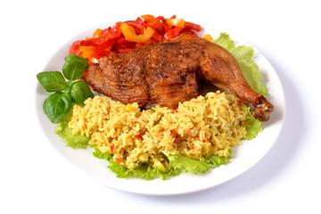 pieczone udko z kurczaka z ryżem i papryką