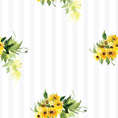 The pattern of blooming yellow flowers sunflower painted in watercolor. Illustration of decorative floral design for wedding invitations and greeting cards