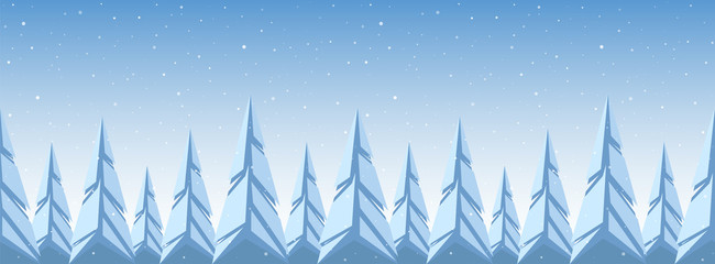 Snowy pine forest. Christmas banner template. Geometric graphic design