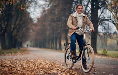 Senior man in park in autumn