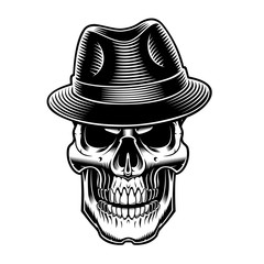 Colorful gangster human skull with cigarette sketch vector. Transferred.  Pending. black and white illustration of vintage sull in hat. 2756232db907